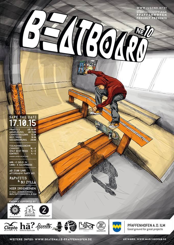 10. Beatboard Skate Contest in Pfaffenhofen 2015 Plakat by Marco Bernd