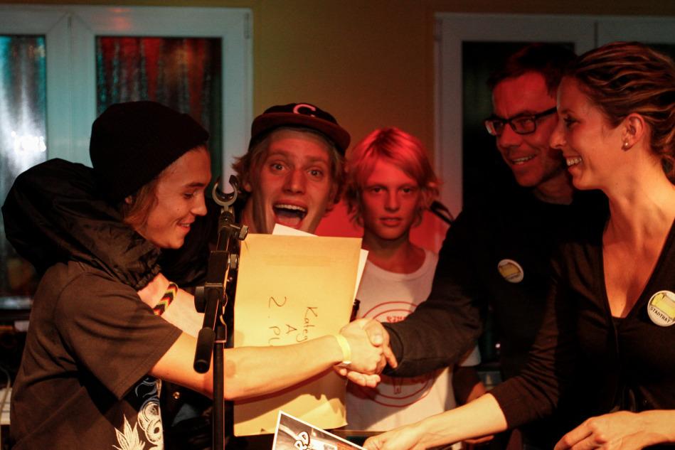 So lachen Gewinner und alle, die eine Gude Zeit beim Beatboard 2014 hatten.