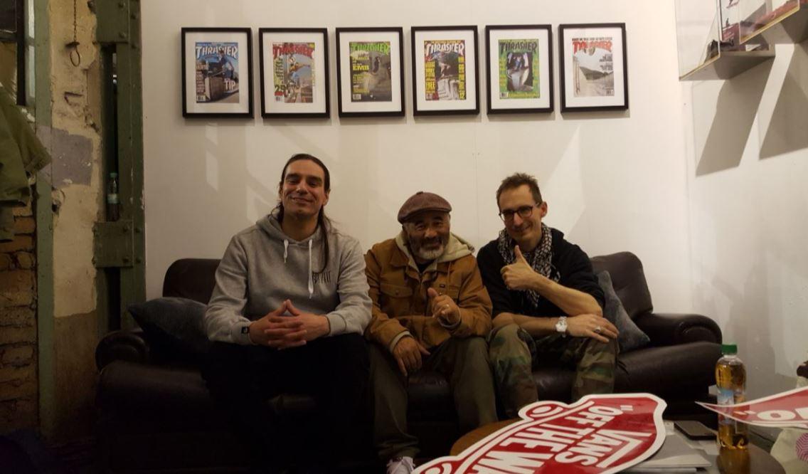 Der Langhaarige, die Legende, der Skateboardmuseum-Macher aka Lorenzo Taurino, Steve Caballero und Jürgen Blümlein