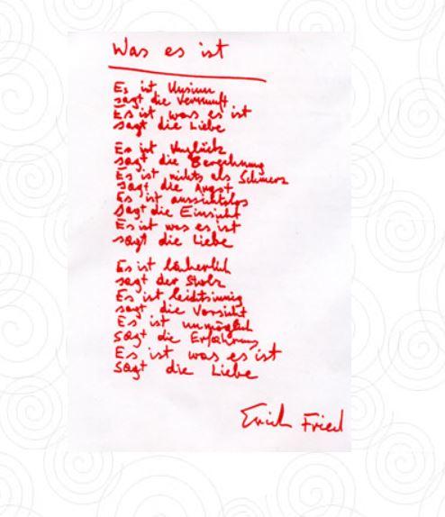 Das handgeschriebene Gedicht von Erich Fried