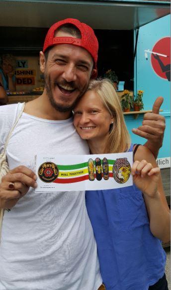Senol Maier from Mata Hari Stuttgart and Mata Skateboarding and his lady roll together